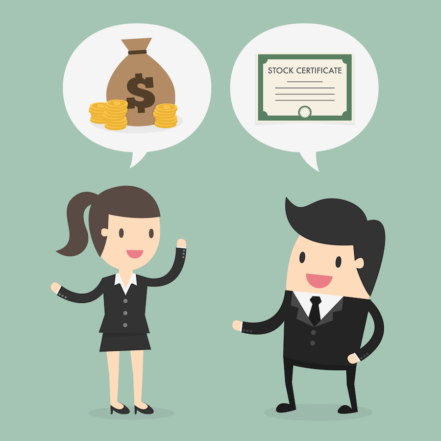 Clip art style image with man and woman exchanging money for shares of stock